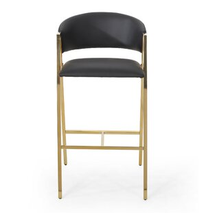 Arana Modern Faux Leather 28.5 Bar Stool (Set of 2) by Everly Quinn