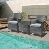 Mitsuwa 3 Piece Bistro Set with Cushions