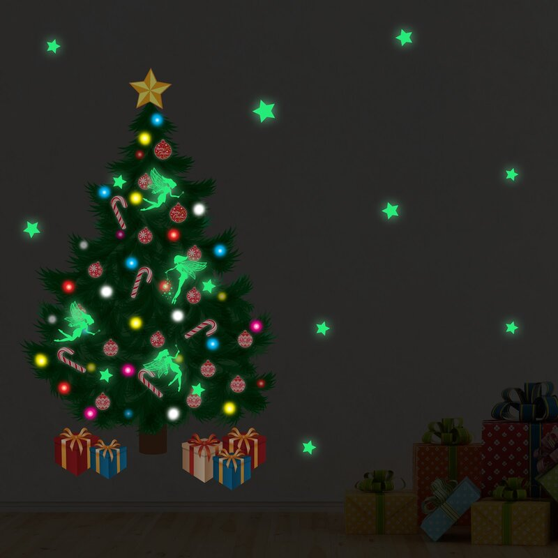 Glow In Dark Traditional Christmas Tree Wall Decal