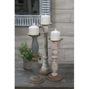 Cottage Pillar 3 Piece Metal Candlestick Set