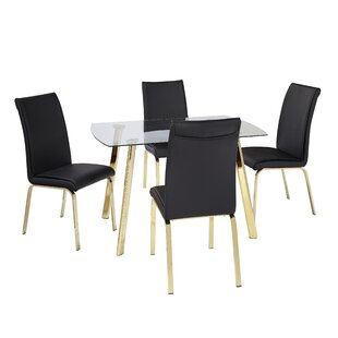 Leia 5 Piece Dining Set Wrought Studio