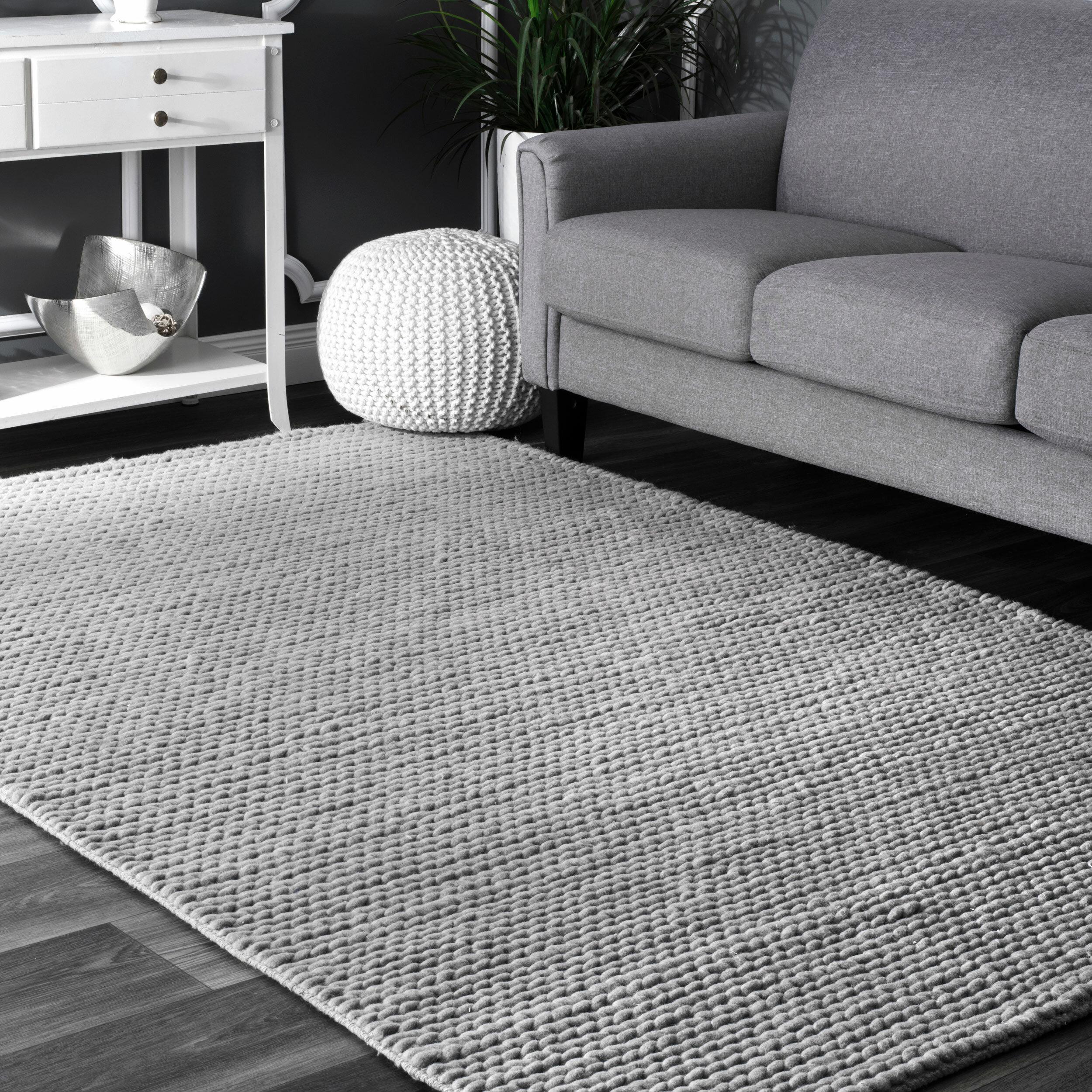 Langley street makenzie woolen cable hand woven light grey area rug reviews wayfair ca
