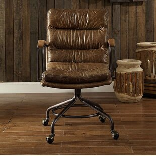 17 Stories Leblanc Swivel Executive Genuine Leather Office Chair