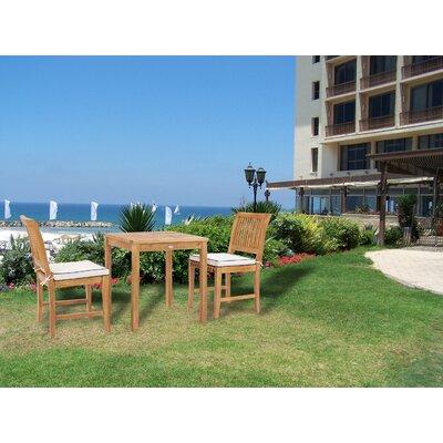 Dayne 3 Piece Teak Bistro Dining Set With Sunbrella Cushions by Bay Isle Home New
