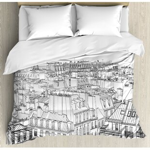 East Urban Home Architecture Theme Design Illustration of Roofs in Paris and Eiffel Tower Print Duvet Set