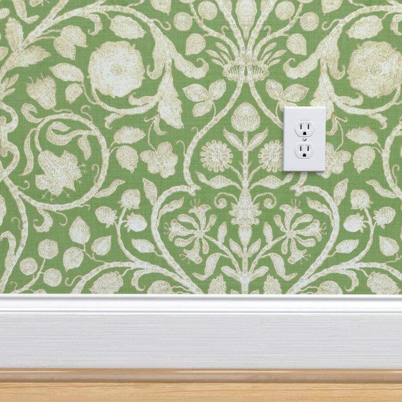 Ebern Designs Sean Damask Removable Peel And Stick Wallpaper Roll Wayfair