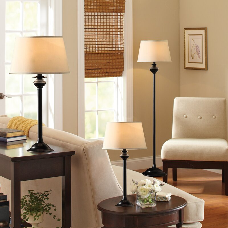 Alcott Hill Charlbury 3 Piece Table and Floor Lamp Set & Reviews ...