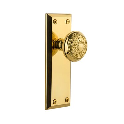 2.375 Grandeur Grande Victorian Plate with Fifth Avenue Knob Privacy Polished Brass