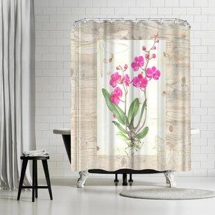 Elizabeth Hellman Orchid Woodgrain Shower Curtain By East Urban Home