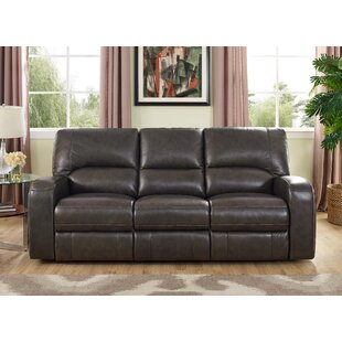 Woodhull Leather Reclining Sofa Red Barrel Studio