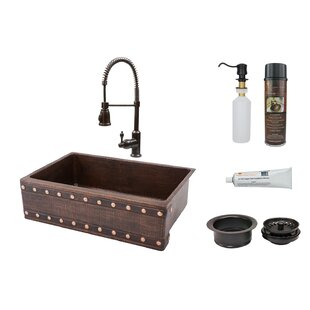 33 L x 22 W Apron Single Basin Kitchen Sink with Faucet By Premier Copper Products