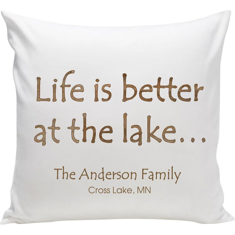 jds personalized gifts personalized cabin at the lake throw pillow reviews wayfair personalized cabin at the lake throw pillow