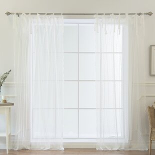 Rosenda Lace Polka dots Sheer Tab Top Curtain Panels (Set of 2) by Ophelia & Co.