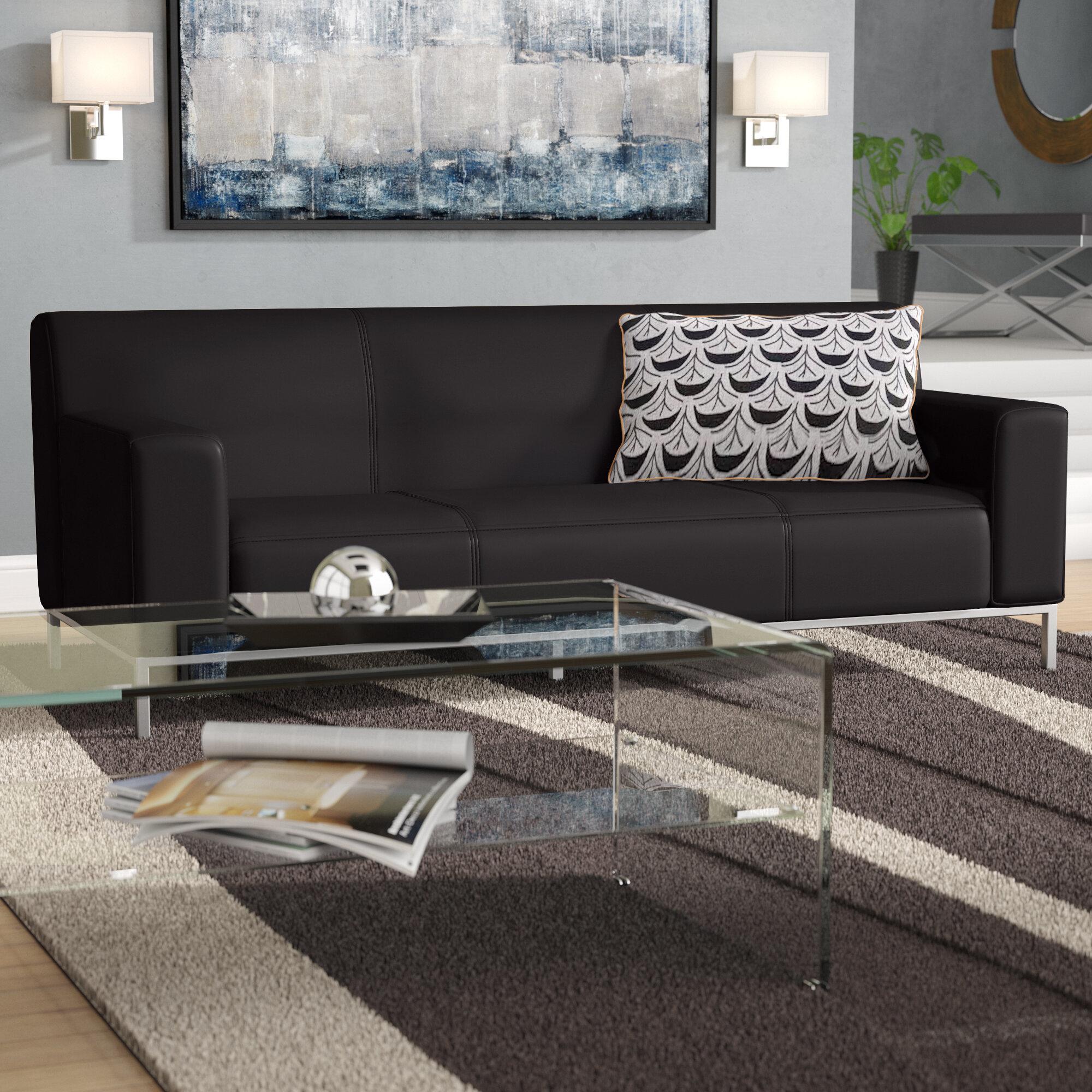 Wrought Studio Flatiron Contemporary Leather Sofa Reviews Wayfair