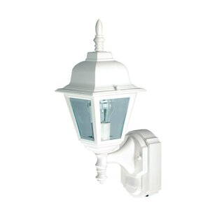 Great Price Gilroy Glass Outdoor Wall Lantern with Motion Sensor By World Menagerie