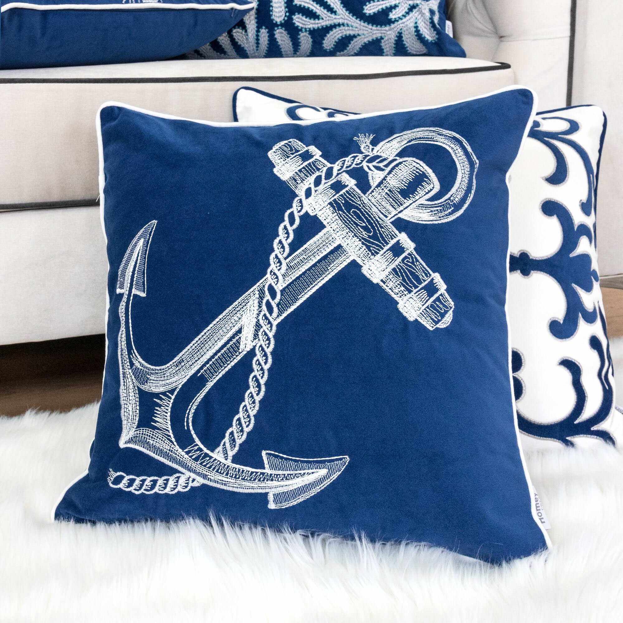 Longshore Tides Canas Embroidery Anchor Indoor Outdoor Throw Pillow Reviews Wayfair