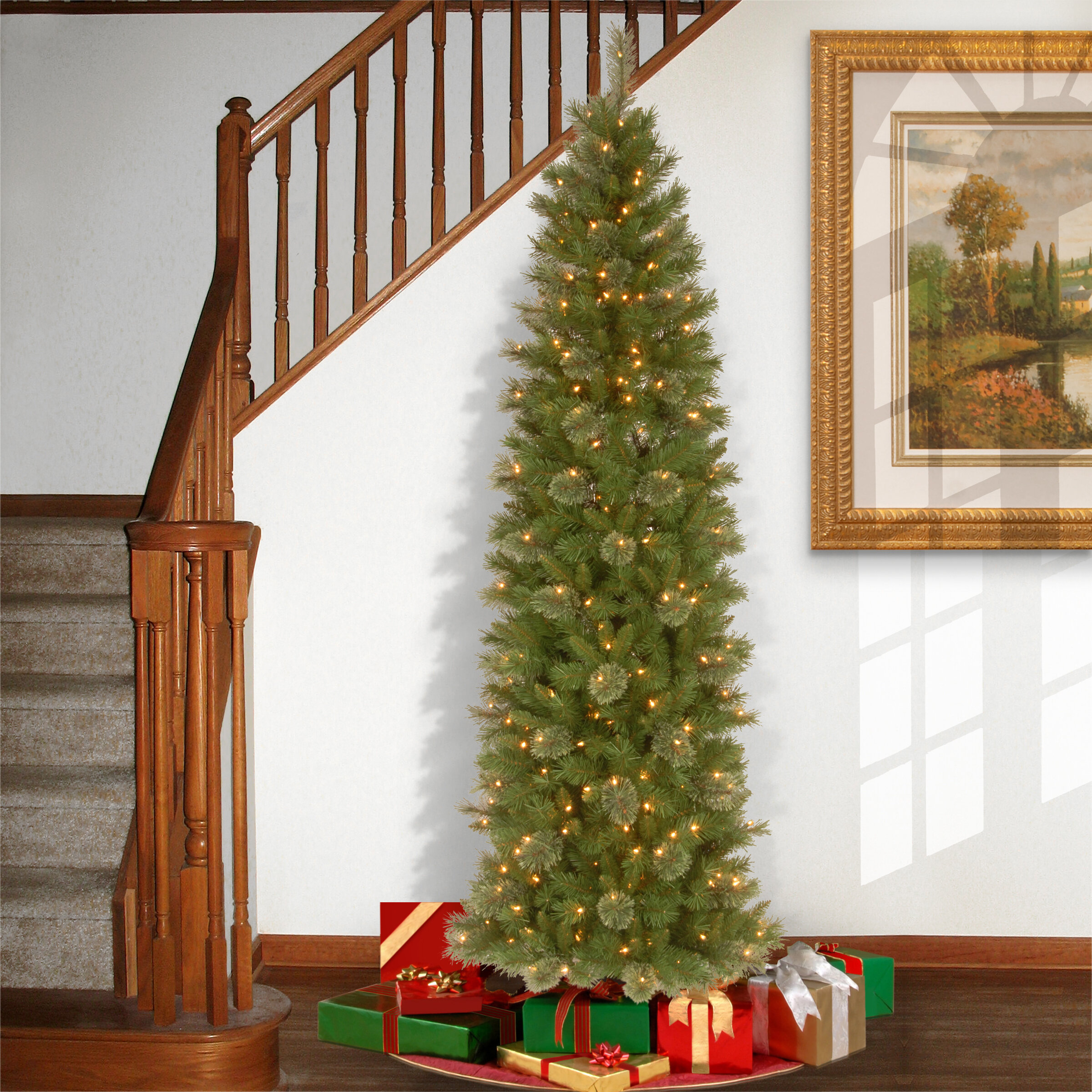 Pencil Christmas Tree.Tacoma 7 6 Green Pencil Pine Artificial Christmas Tree With 350 Clear Lights And Stand