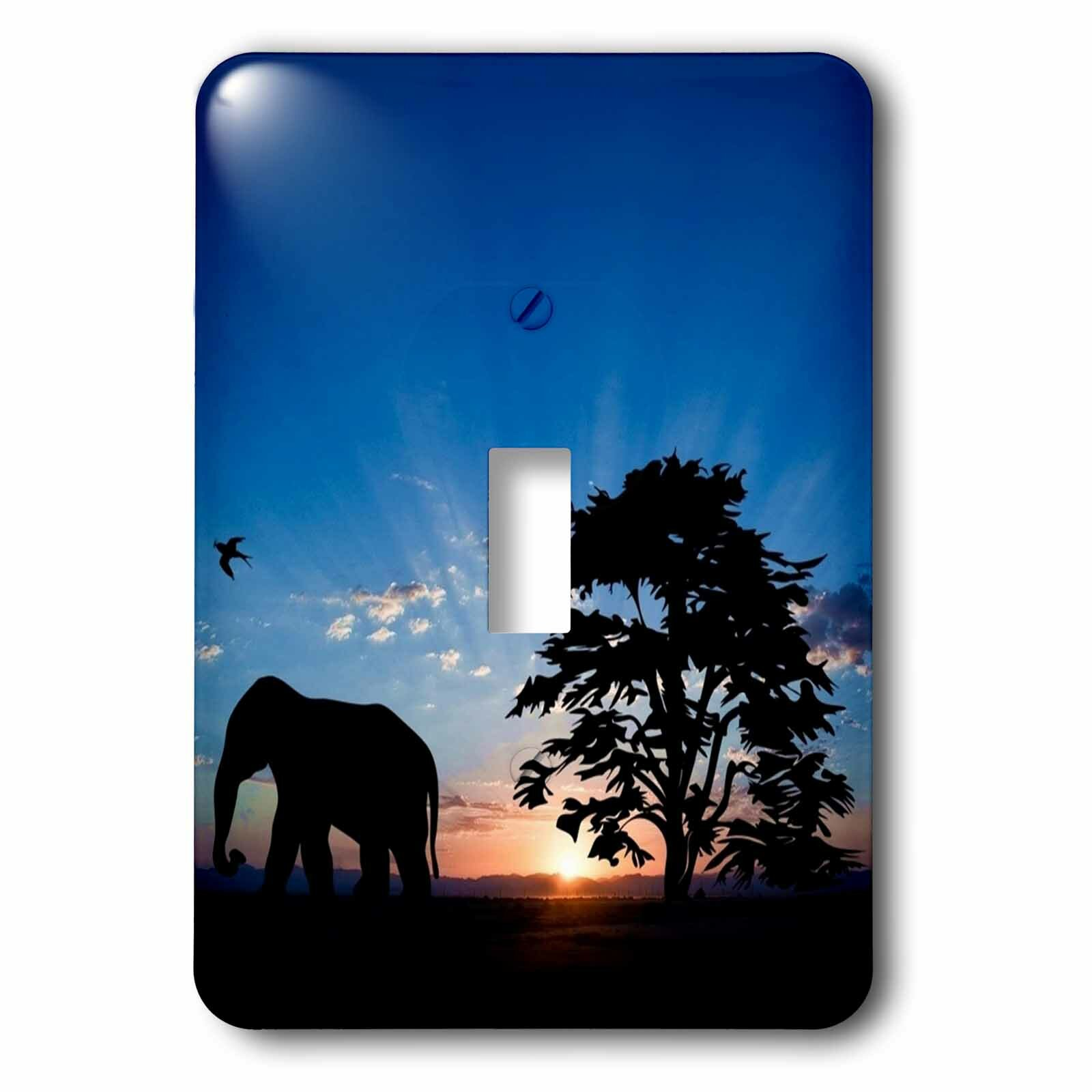 3drose Elephant With Sunset 1 Gang Toggle Light Switch Wall Plate Wayfair