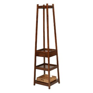 Alcott Hill Eberhardt 3 Tier Solid Wood Coat Rack with 1 Drawer and 1 Basket