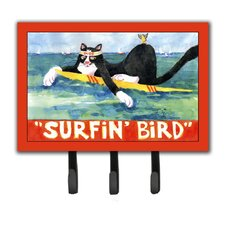 Cat Surfin Bird Leash Holder and Key Hook by Caroline's Treasures