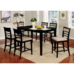 Harness Wooden 7 Piece Counter Height Dining Table Set