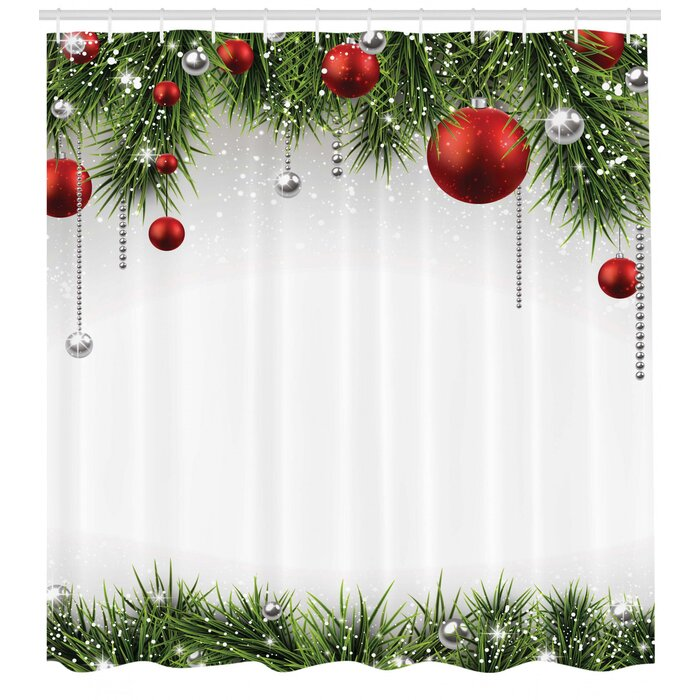 Christmas Tree Balls.Christmas Tree Balls Ornaments Shower Curtain Hooks