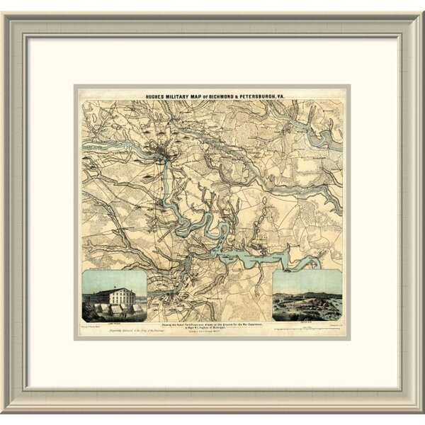 East Urban Home Hughes Military Map Of Richmond Petersburgh Virginia 1864 Framed Print Wayfair