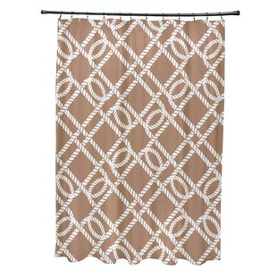 Beachcrest Home Bridgeport Know the Ropes Geometric Shower Curtain