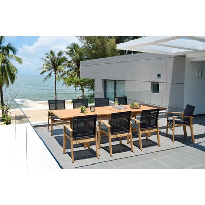 Loughton Outdoor 9 Piece Teak Dining Set by Rosecliff Heights Purchase