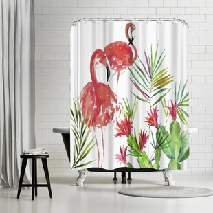 East Urban Home PI Creative Art Flamingo Pairing Shower Curtain