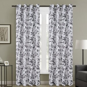 Central Nature/Floral Sheer Grommet Curtain Panels (Set of 2)