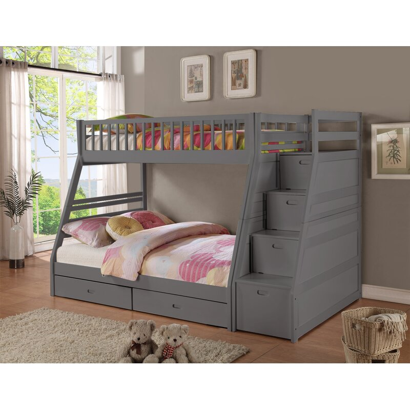 Weebluefish Twin Over Full Bunk Bed With Stairs And Storage