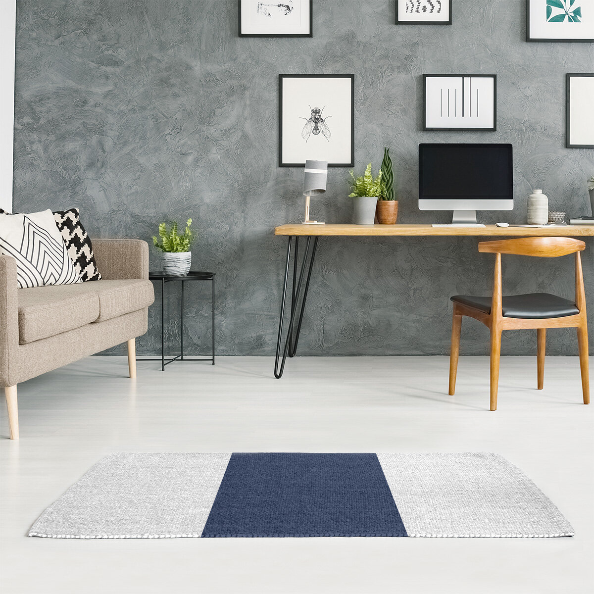 East Urban Home New York Striped White Midnight Navy Blue Area Rug Wayfair