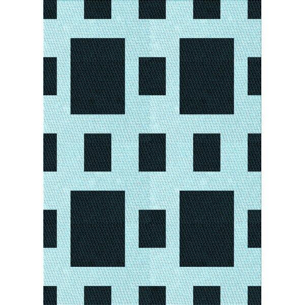 East Urban Home Geometric Wool Light Blue Black Area Rug Wayfair