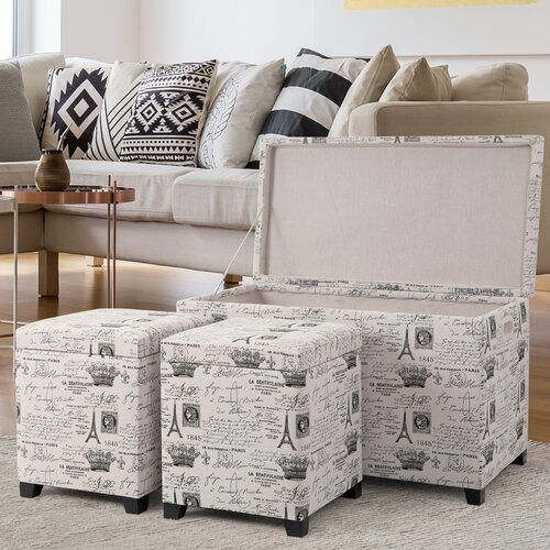 Pleasant Brindley 3 Piece Storage Ottoman Set Gmtry Best Dining Table And Chair Ideas Images Gmtryco