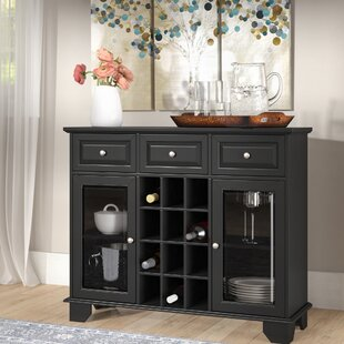 Priestley Wood Server with 12 Bottle Floor Wine Cabinet