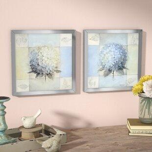 f8fda150ed5  Blue Hydrangea  2 Piece Framed Acrylic Painting Print Set Under Glass