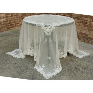 Flower Lace Embroidered Tablecloth with Beaded Accent