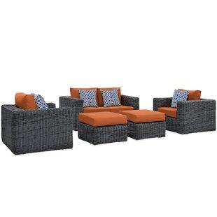 Keiran 5 Piece Sunbrella Sofa Set with Cushions ByBrayden Studio