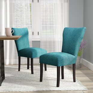 Salmon Allure Pebble Spring Seating Double Dow Upholstered Parsons Chair (Set of 2) Laurel Foundry Modern Farmhouse