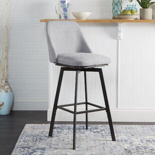 Bales Upholstered Curved Back Adjustable Height Swivel Bar Stool by Winston Porter
