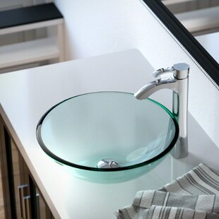 MR Direct Glass Circular Vessel Bathroom Sink with Faucet