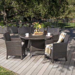 Ivy Bronx Argueta Outdoor Wicker 5 Piece Dining Set with Cushions