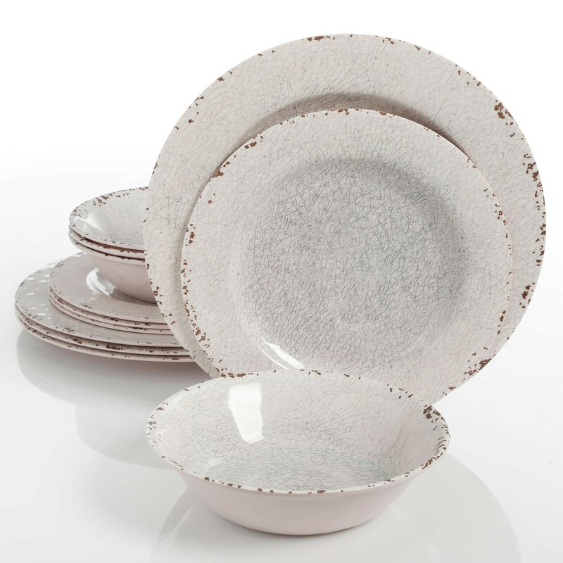 Slaton 12 Piece Melamine Dinnerware Set, Service for 4