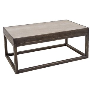 Coffee Table with Inset Travertine Top by Sarreid Ltd