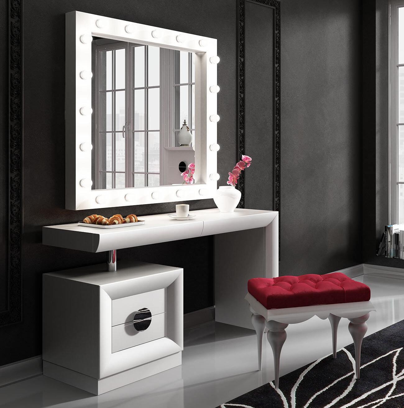 Everly Quinn Kirkwood Bedroom Makeup Vanity Set With Mirror