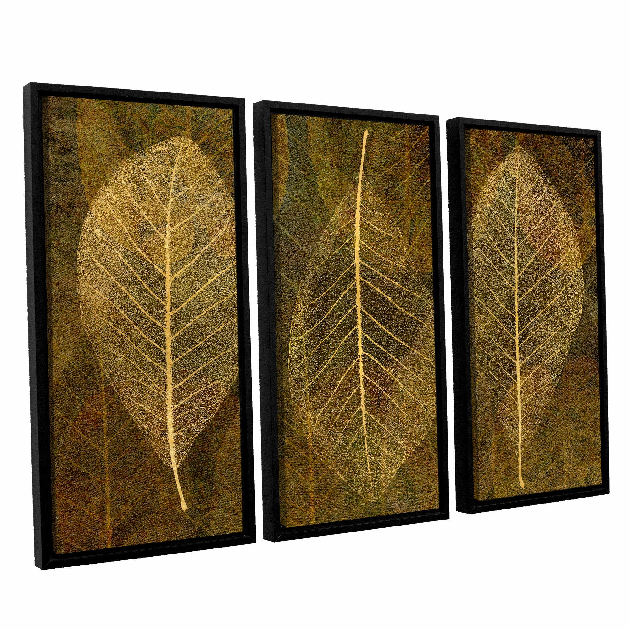 Winston Porter Leaf Gold 4 3 Piece Framed Graphic Art Set Wayfair