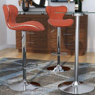 Orren Ellis Carty Adjustable Height Swivel Bar Stool (Set of 2)