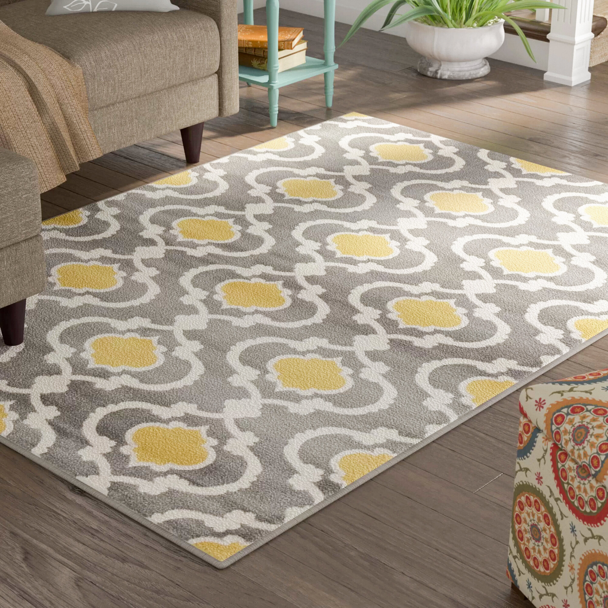 Picture of: Andover Mills Melrose Geometric Gray Yellow Area Rug Reviews