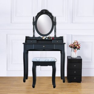 Alcott Hill Hildebrand Wood 3 Drawer Vanity Set with Mirror